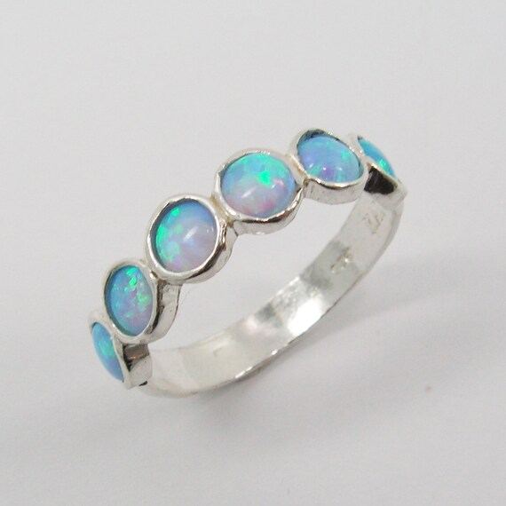 Opal Sterling Silver Ring . Birthday Gift For Her Romantic