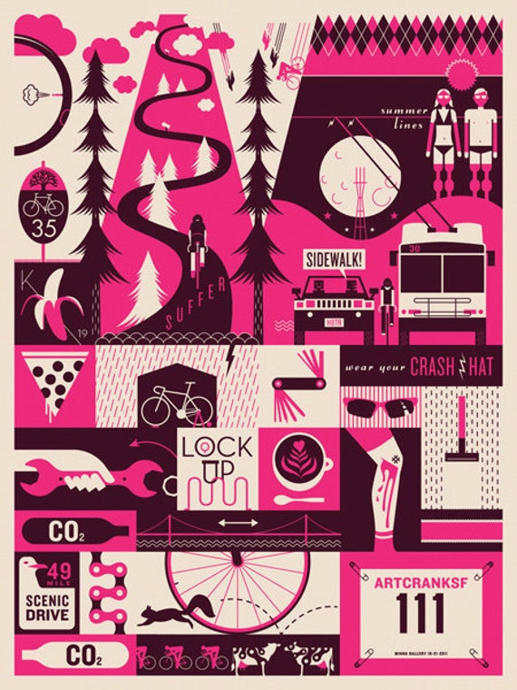 Screenprinted Bicycle-themed Poster