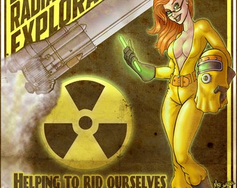Radiation Exploration - Vintage Print Pinup & Art by Mike Shampine - Signed and Numbered