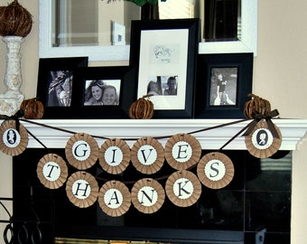 Thanksgiving Banner- GIVE THANKS- Fall Banner