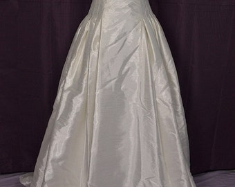 1990s Strapless Silk Corset-top Wedding Gown/Dress w Train and Veil, Rena Koh