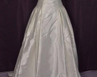 1990s Strapless Silk Corset-top Wedding Gown/Dress w Train and Veil, Rena Koh