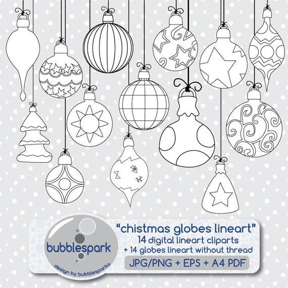 Christmas Ornament Shapes Part - 28: Items Similar To Christmas Ornaments - Digital Clip Art Christmas Ornaments,  Holiday Globes, Christmas Balls, Digi Stamp Christmas On Etsy