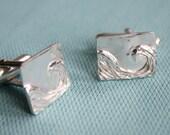 Solid Silver Wave Cufflinks