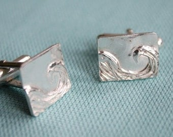 Solid Silver Wave Cufflinks