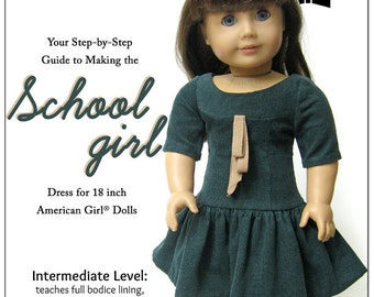 Pixie Faire Melody Valerie Couture School Girl Dress 18 inch Doll Clothes Pattern for American Girl Dolls - Pixie Faire PDF