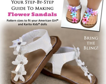 Pixie Faire Dena's Doll Designs Flower Sandal Shoe Doll Clothes Pattern for 18 inch American Girl Dolls - PDF