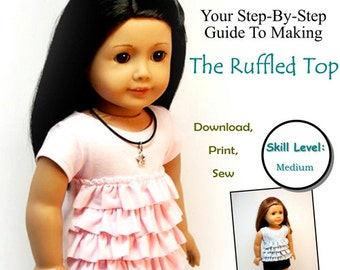 Pixie Faire Sew Urban Ruffled Top Doll Clothes Pattern for 18 inch American Girl Dolls - PDF