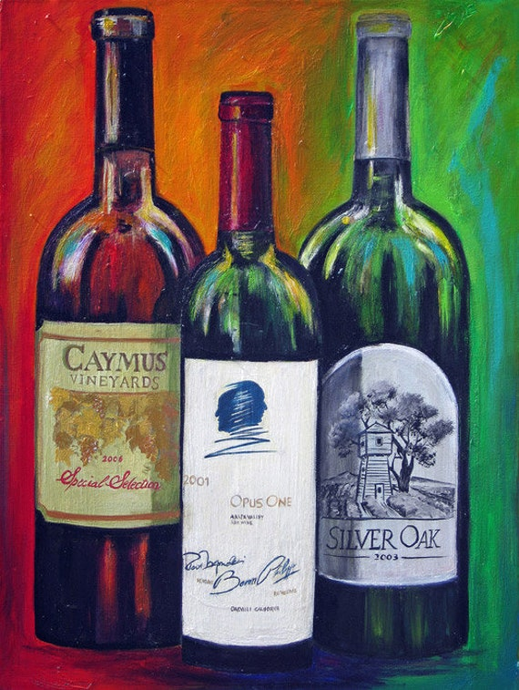 Wine bottles painting print on canvas opus one silver oak for What kind of paint to use for wine bottles