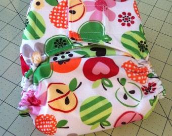 Sale! Medium One Size Diaper in Apple Dapple Print