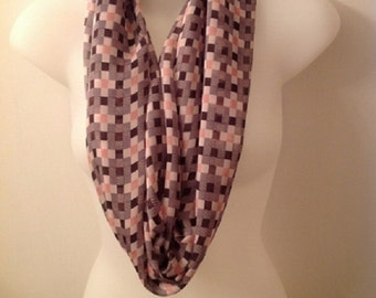 Grey, Pink and White Squares Infinity Scarf