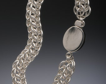 Full Persian Sterling Silver Bracelet with Oval Clasp