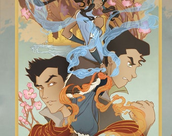Korra, Bolin, Mako and Asami from the Last Airbender, Legend of Korra