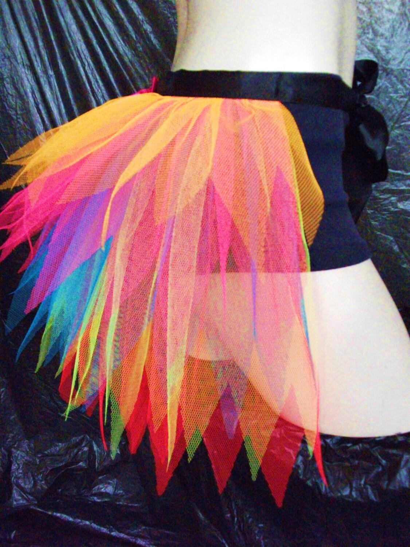 adult fluorescent neon rainbow half tutu bustle