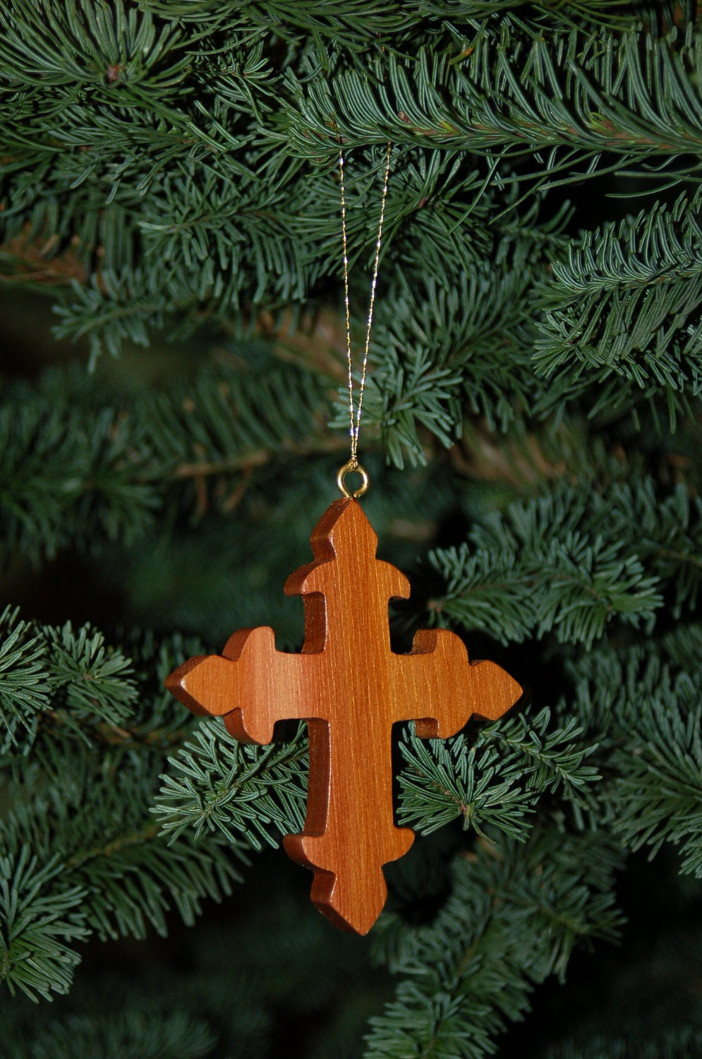 CROSS CHRISTMAS ORNAMENT Wood Carving. Trim your holiday tree with a meaningful and traditional symbol. Sure to be treasured.
