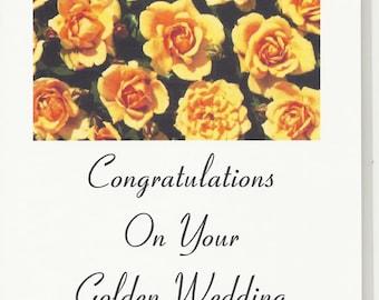 Handmade Greeting Card - 50th Golden Anniversary - Laser printed