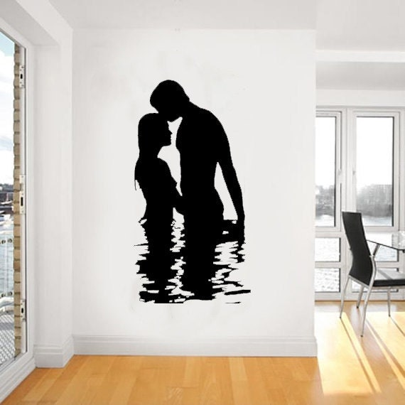 Silhouette Of Love Between A Man And A Women Wall By