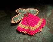 Christmas Brooch Vintage Holiday Bells Pin Handcrafted Beaded Embroidery Jewelry