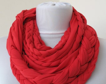 Red Loop Scarf - Infinity Jersey Scarf - Partially braided Circle Scarf - Scarf Nekclace