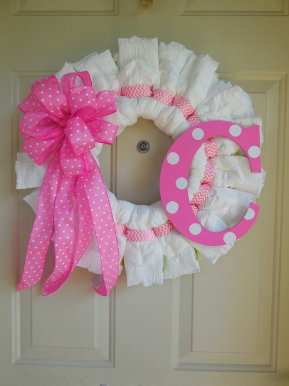 Pink polka dot and chevron diaper wreath with initial for Baby shower front door decoration ideas