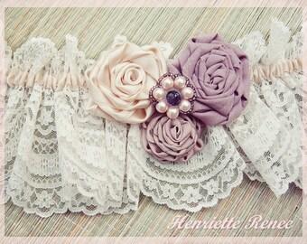 Purple wedding garter, Vintage lace garter, Pink Lace Garter, Purple and pink garter, Pink wedding garter, Purple wedding
