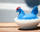 Vintage Collectible Blue Rooster with Milk Glass Basket