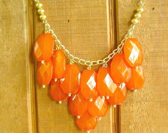 Orange statement necklace, Tangerine orange bib necklace