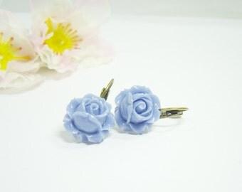 Blue Roses Earrings Flower bronze