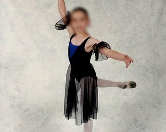 Ballet Dance Costume, Lyrical, Sheer Black Skirt with Blue Bodysuit and Black Lace Detail