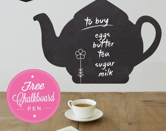 Write & Erase Teapot  Wall Decal - Kitchen Wall Decal - Wall Graphics - Vinyl Wall Sticker