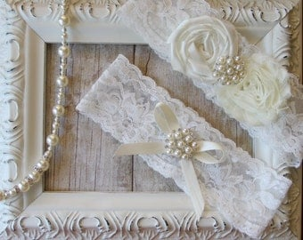 Garter w/ Toss - Wedding Garter Set with an Ivory Flower on Comfortable Lace with Pearls & Rhinestones - Bridal Garter