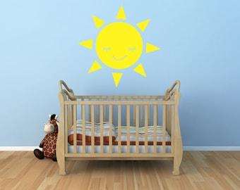 Smiling Sun Vinyl Decal Size LARGE - Sun, Sun Vinyl Wall Art, Sun Sticker, Sun Decor, Sun Decorations, Sun Art, Nursery Art, Kids room Art