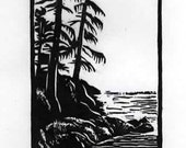 Woodlands North by Northwest Miniature Woodcut Relief Print / by Diane Cutter / matted for 8 x 10 frame / SFA