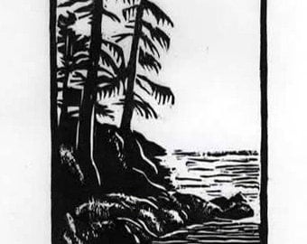 Woodlands North by Northwest Miniature Woodcut Relief Print / by Diane Cutter / SFA