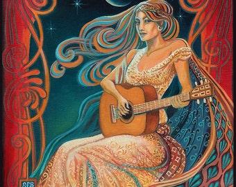 Gypsy Moon ACEO Psychedelic Goddess Altar Art Mini Print