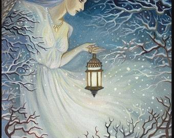 Winter Goddess ACEO ATC Altar Art Fine Art Print Pagan Mythology Bohemian Yule Winter Solstice Goddess