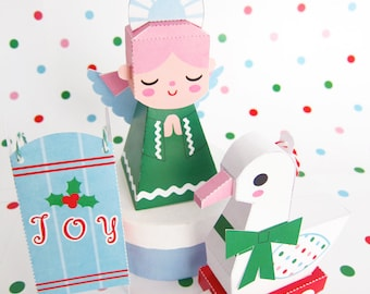 Angel, Duck Toy, Sled Ornaments Prinatble Paper Christmas Crafts