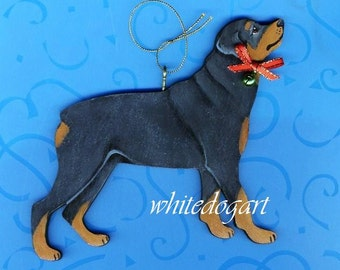 Custom Handpainted Rottweiler Christmas Ornament