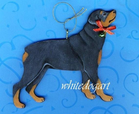 Handpainted Rottweiler Christmas Ornament