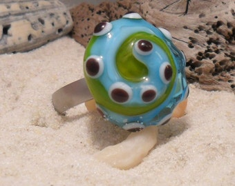 Lampwork Ring Topper Aqua Green, Artisan Handmade Interchangeable Jewerly, SRA LETEAM Glassymom