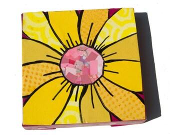 Yellow Gerber Daisy ART - yellow and pink floral wall art decor - 6 x 6 inch flower art