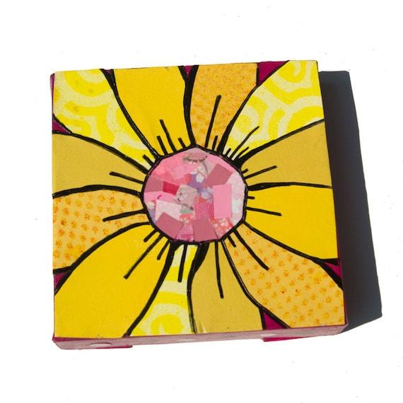 Yellow Gerber Daisy ART, yellow flower art, floral art, flower collage - yellow and pink - Mixed Media Collage Art, wall art decor