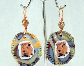 Brown BABY GUINEA PIG Cameo Earrings - Sculptural & ooak