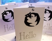 Hello card Bat card hand printed silkscreen gothic spooky art halloween card edward gorey creepy cute snail mail mail art  write letters hi