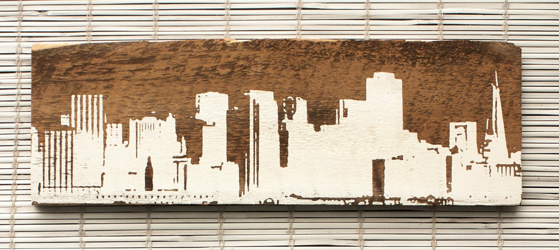 San francisco skyline wall hanging on reclaimed barn wood for Salvaged wood san francisco