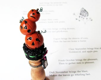 Primitive Halloween Jack-O-Lantern Decoration- Folk Art Pumpkin Holiday Decor- One-Of-A-Kind, Handmade