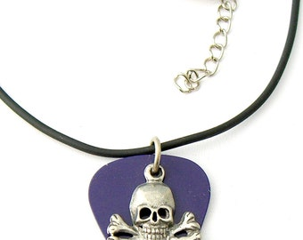 Guitar Pick Grape with Skull and Crossbones Rock & Roll Pirate Skater Goth Biker Necklace