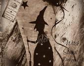Witch Paint Stencil Halloween Primitive Mylar Vintage Style Original Design OFG Team
