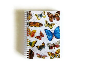 Colorful Butterflies A6 Spiral Notebook, Back to School Natural History Sketchbook, Spiral Bound Writing Journal Pocket Paper Notebooks