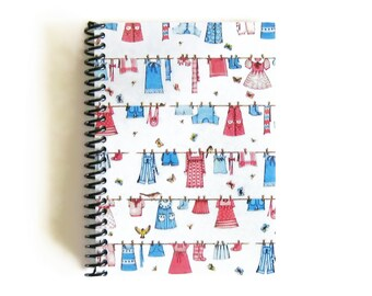 Kids Clothes Line Blank Sketchbook, Spiral Notebook, Cute, Spiral Bound Journal 5x7 Inches, Baby Shower, Writing Paper, Gifts Under 25